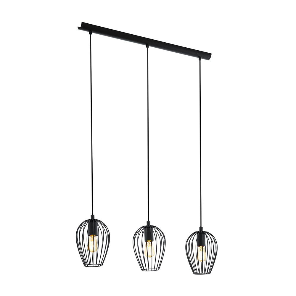 Newtown Vintage Wire Cage 3 Light Bar Pendant Black 49478