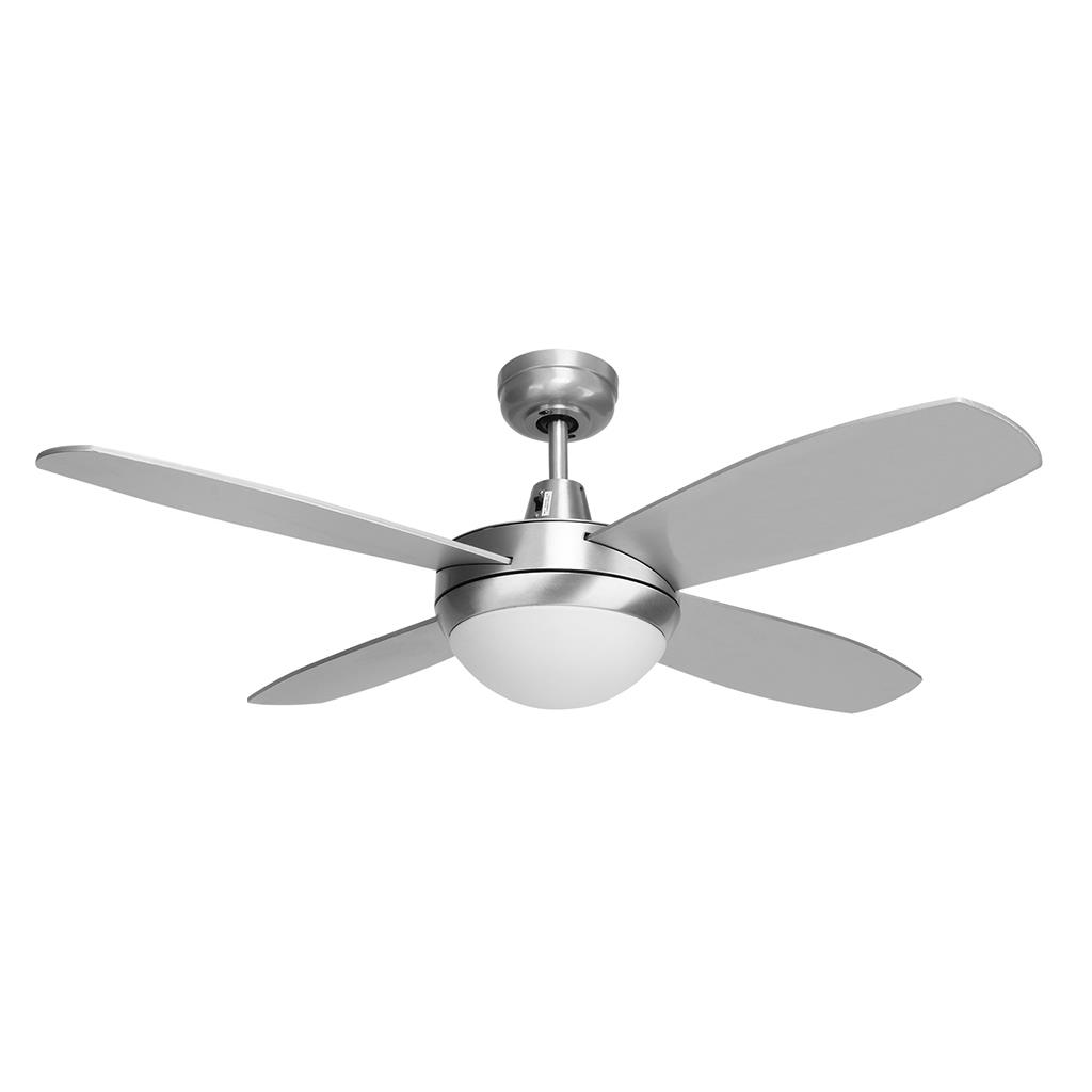 "BRISK 42"" Plywood Blades Ceiling Fan & LED Light - Silver Finish / White LED"