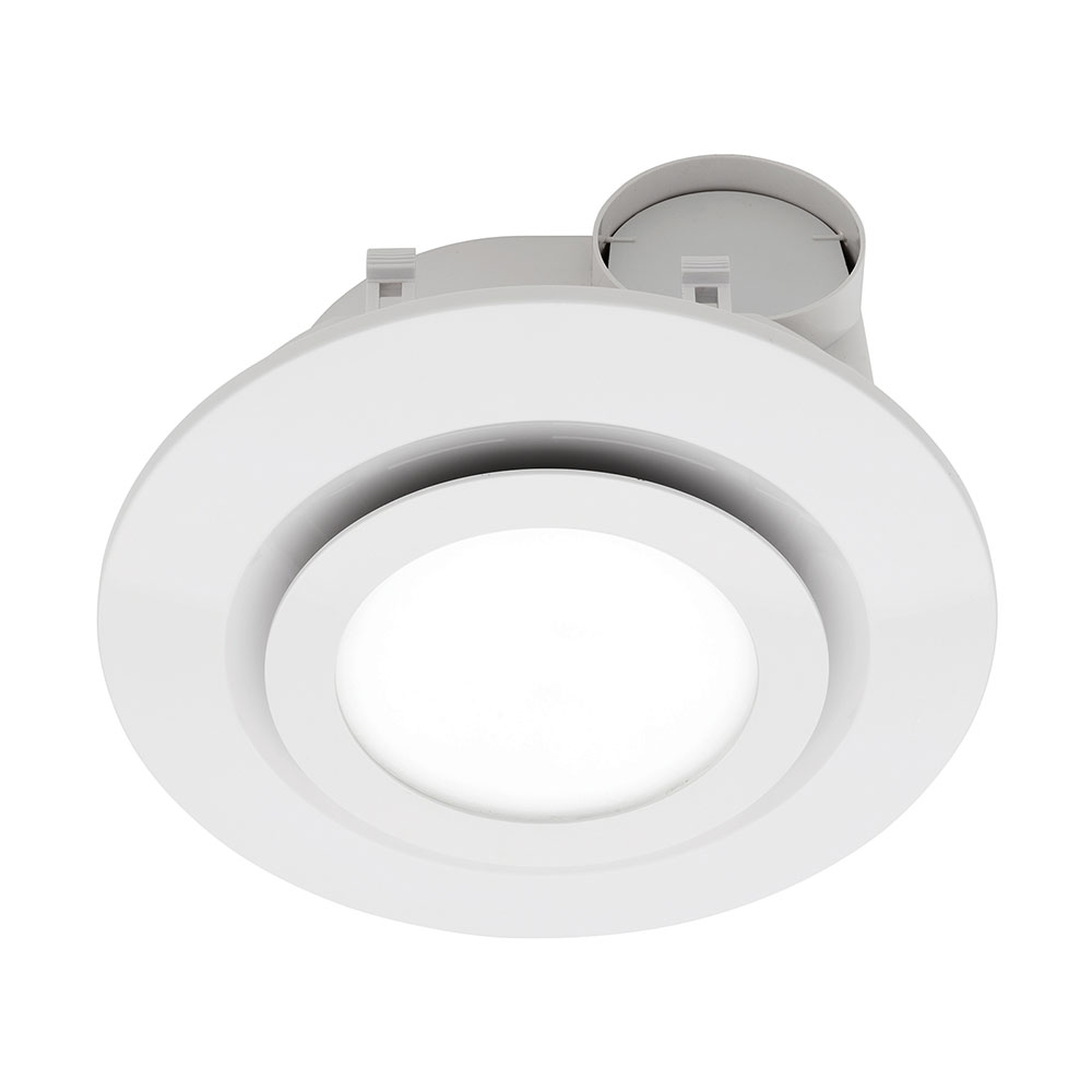 Starline led round exhaust fan with light white be190espwh for Bathroom exhaust fan with led light