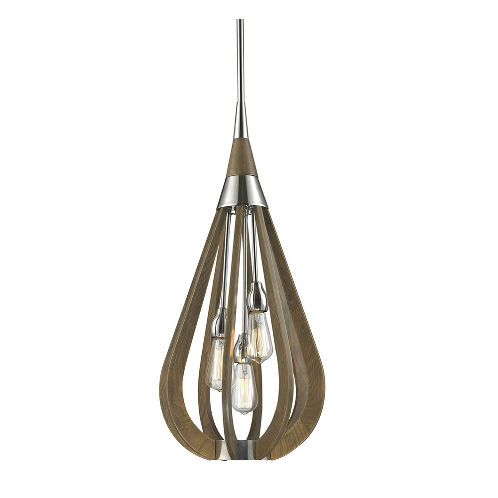Modern Timber 3 Light Pendant Taupe