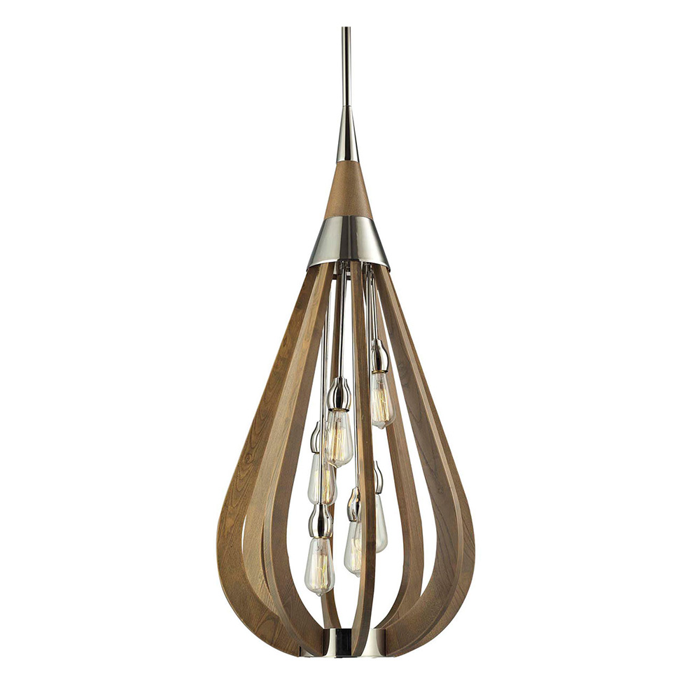 Modern Timber 6 Light Pendant Taupe