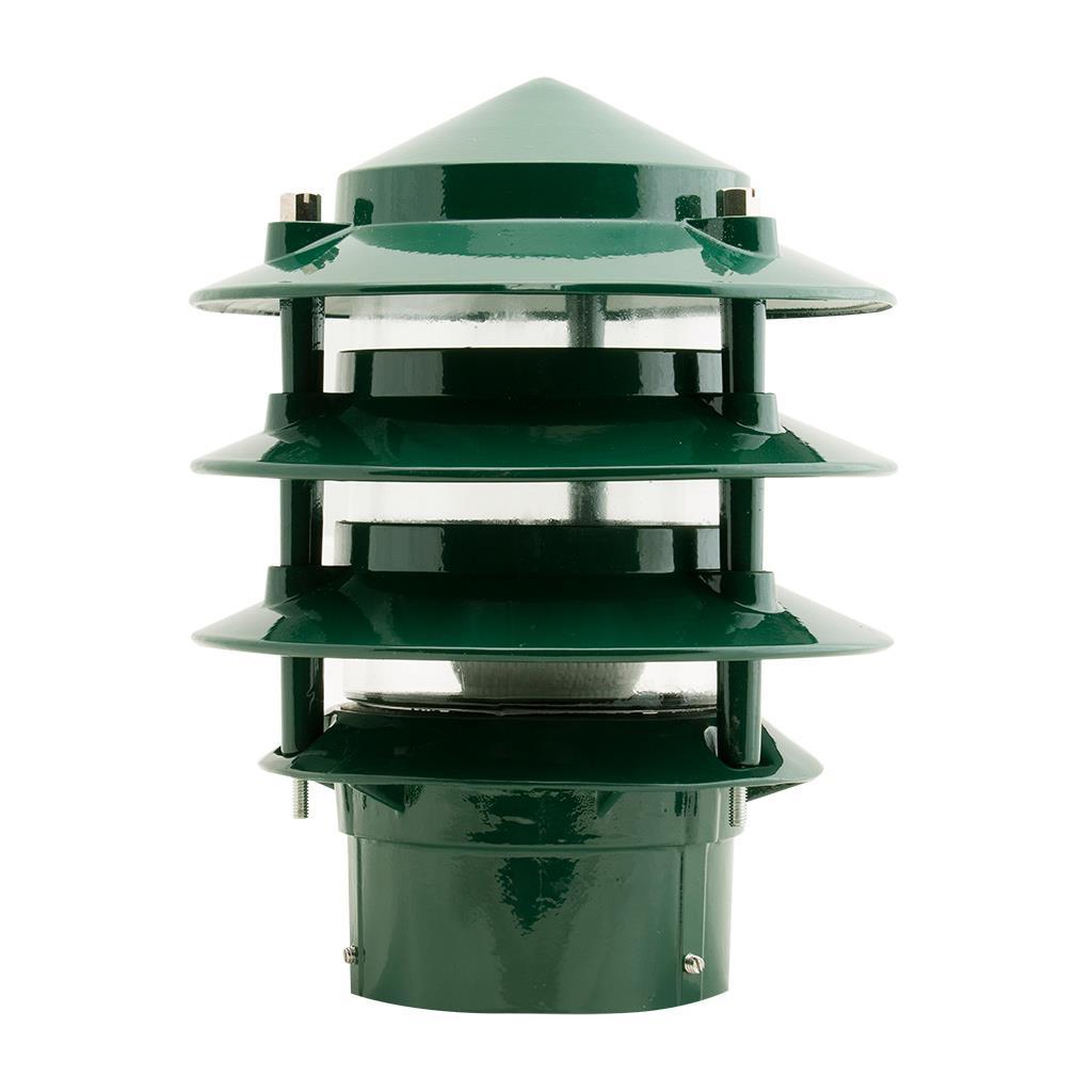 bl 100 three tier bollard head e27 garden light green finish e27