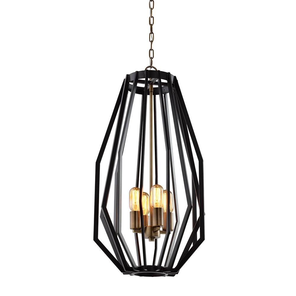 Narrow Angular Cage 5 Light Pendant Oiled Bronze - Gamba2