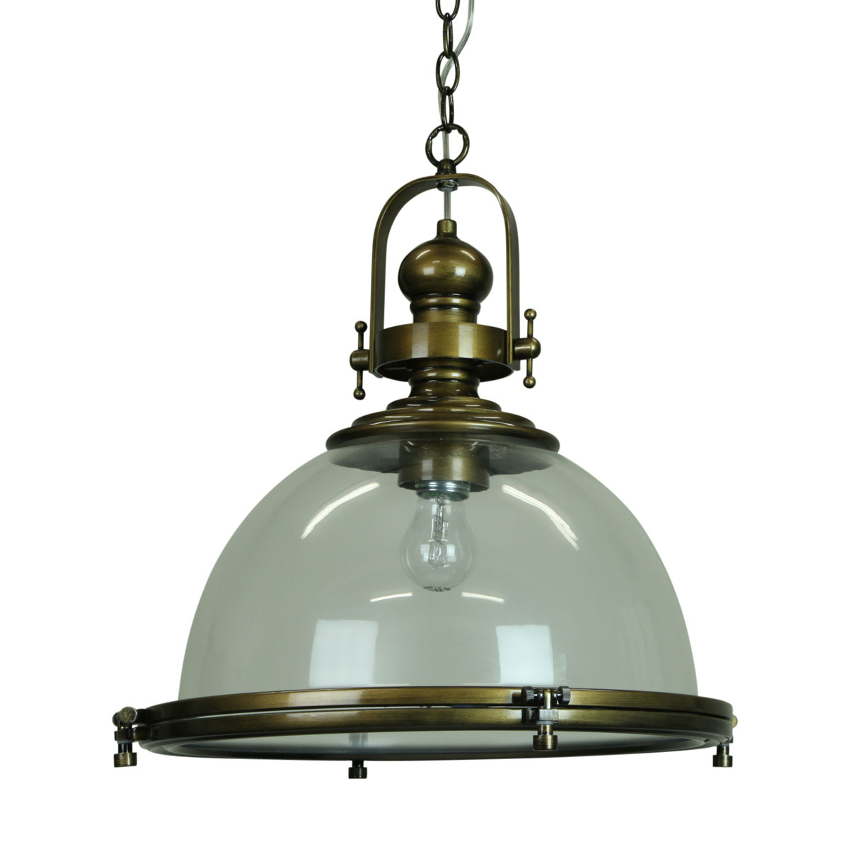 Gaia industrial clear antique brass pendant for Antique pendant light fixtures
