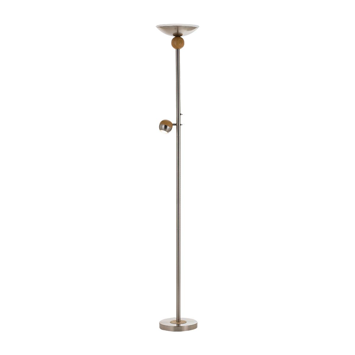 buy online d14cf 3437a Kuran 8 Watt Mother & Son LED Floor Lamp Nickel & Oak / Cool White - K
