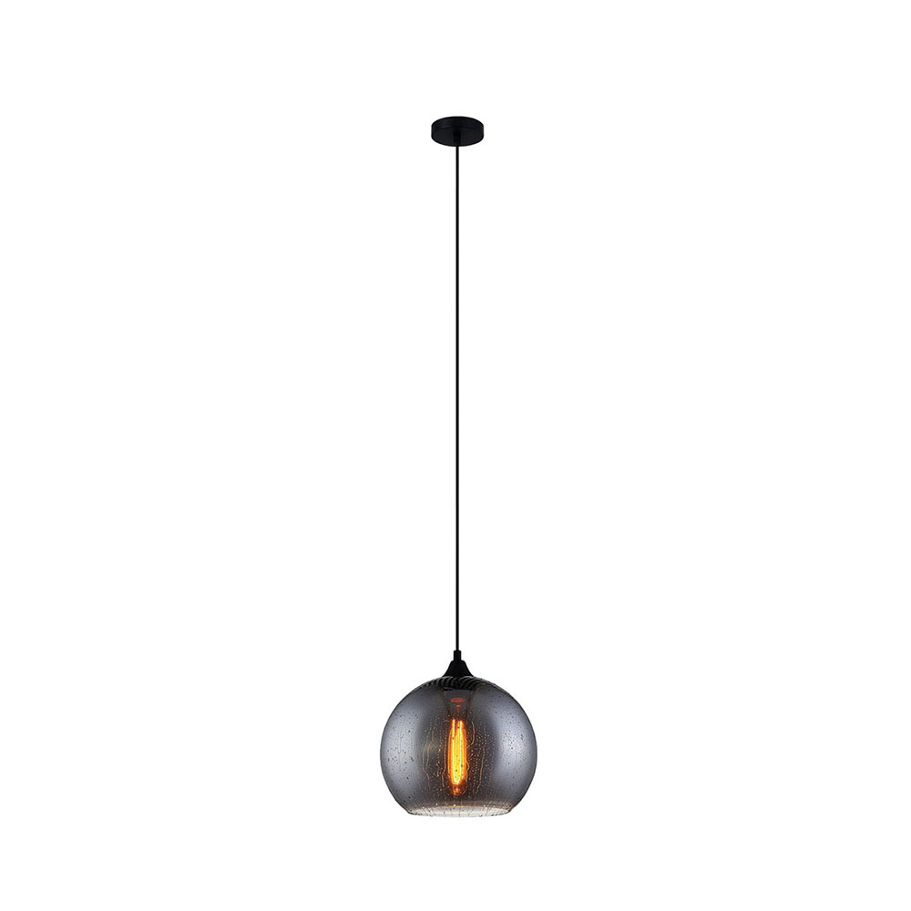 pendant black textured glass cowbell loaf products lamp small light