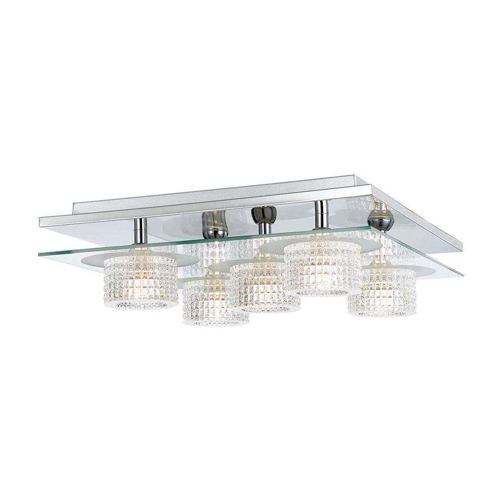 Seville 5 light square flush mount light chrome seville ctc5s ch