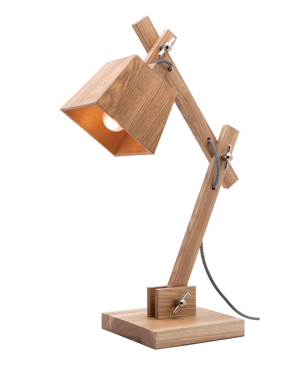 Timber Desk Lamp: ,Lighting