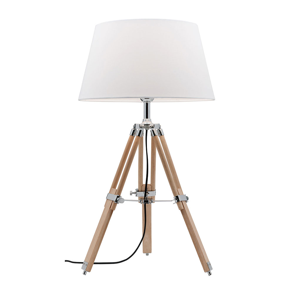 Timber Tripod Table Lamp Natural With Chrome Wt4401