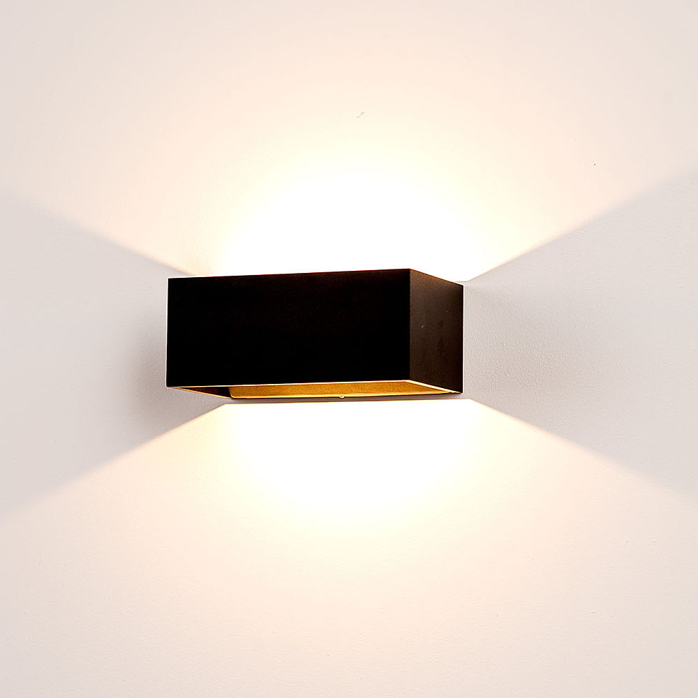 Matt black up down led wall light 240v led hv3665w blk for Exterior up and down lights led