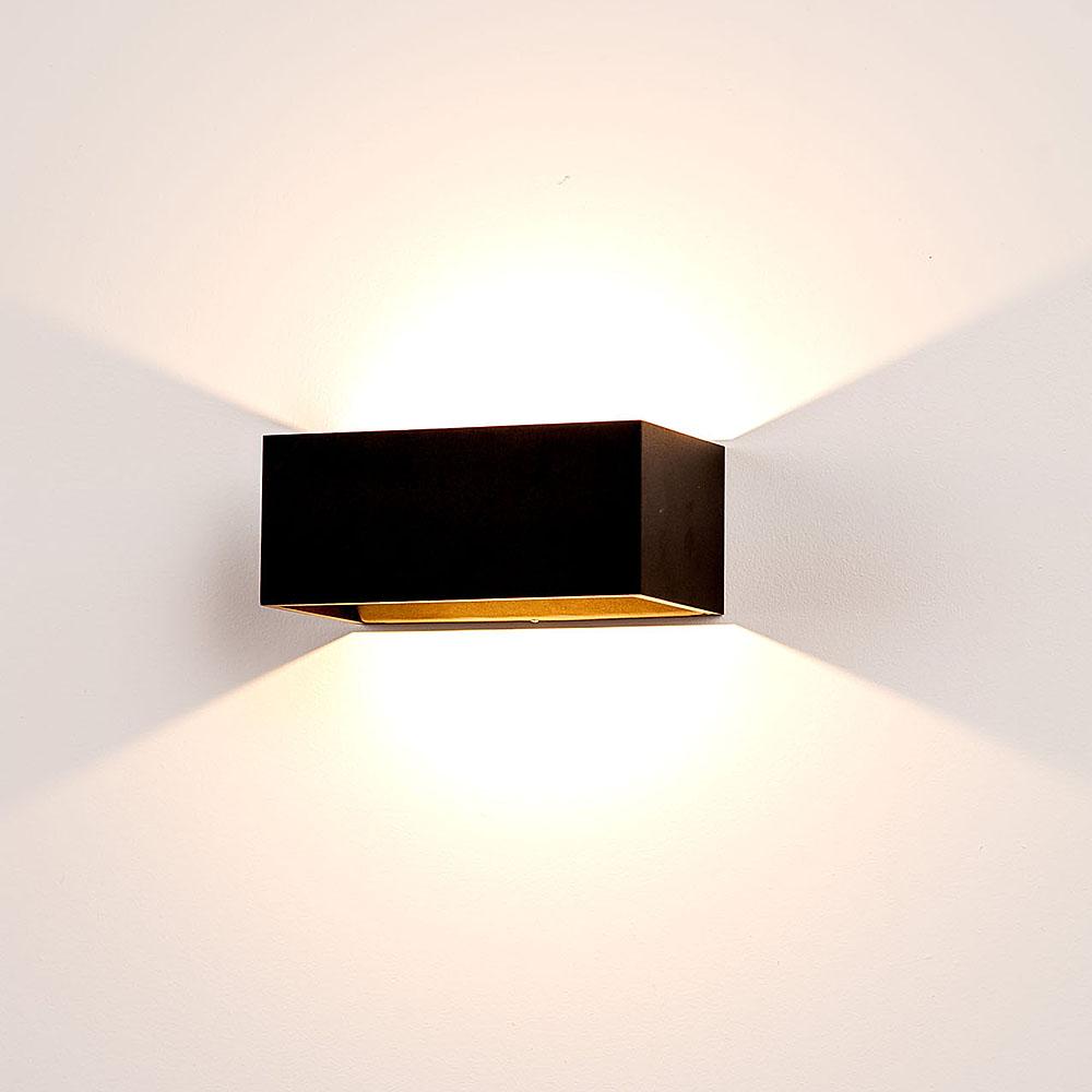 mia 9 watt 240v led up down wall light matt black warm white hv366. Black Bedroom Furniture Sets. Home Design Ideas