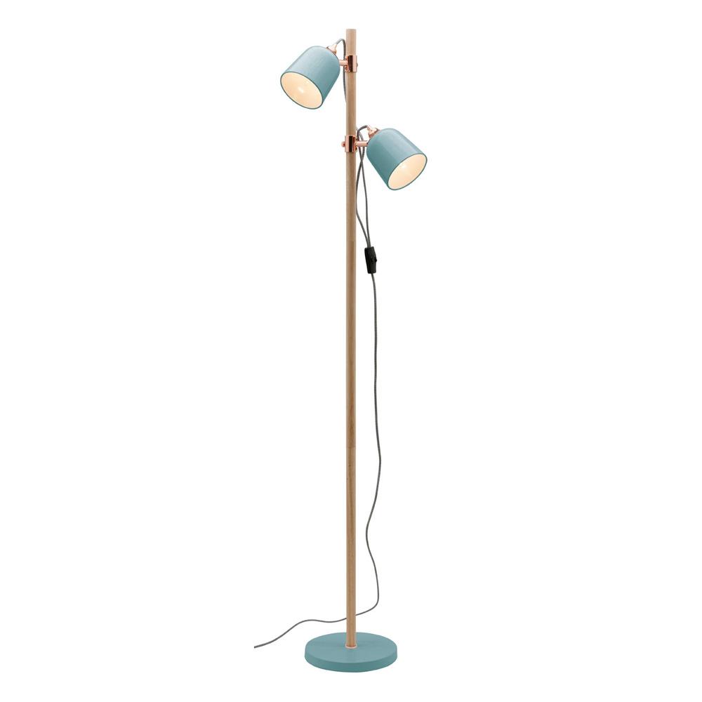 Cuba 2 light floor lamp duck egg timber copper a38622de aloadofball Image collections