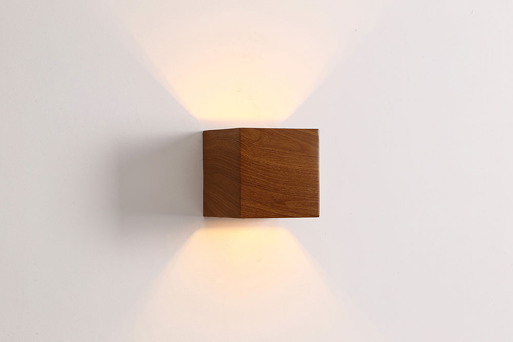 Cube 3.5W LED Exterior Wall Light Dark Wood - CUBO4 | Exterior LED ...