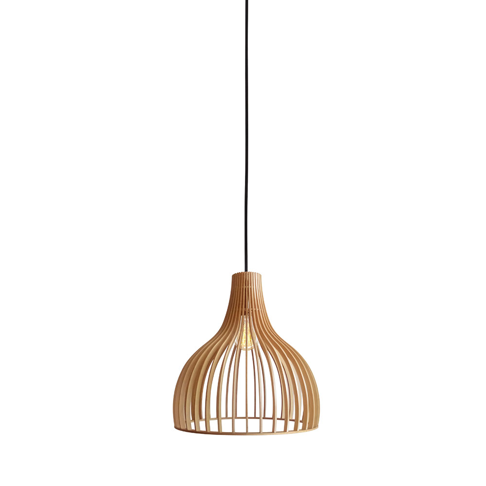Bailey Reconstituted Timber Pendant White