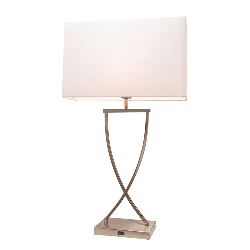 Aristo Table Lamp With Usb Charging Port Brushed Chrome