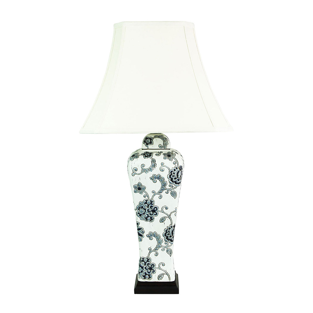Meigui chinese ceramic floral blue white table lamp cream shade ol96967