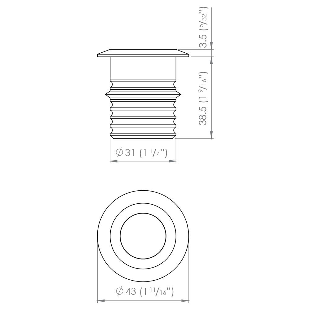 modux m1 round recessed 1w led 30 u00b0 stainless steel    warm