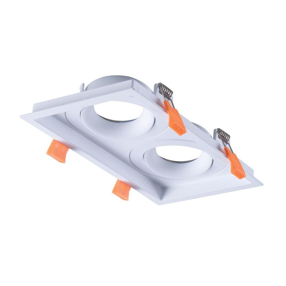 Cell Slot 2 Rectangular Recessed Downlight Frame White - 27060