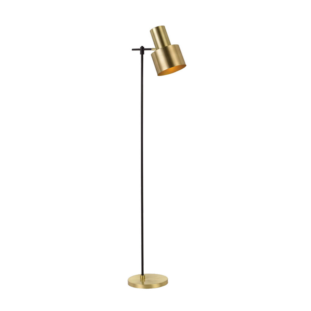 Croset 1 Light Floor Lamp Gold Black Croset Fl Gd
