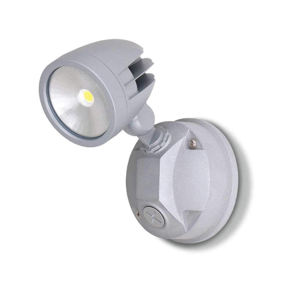Single Head 12W LED Exterior Spotlight Silver / Daylight - AT9130/SIL
