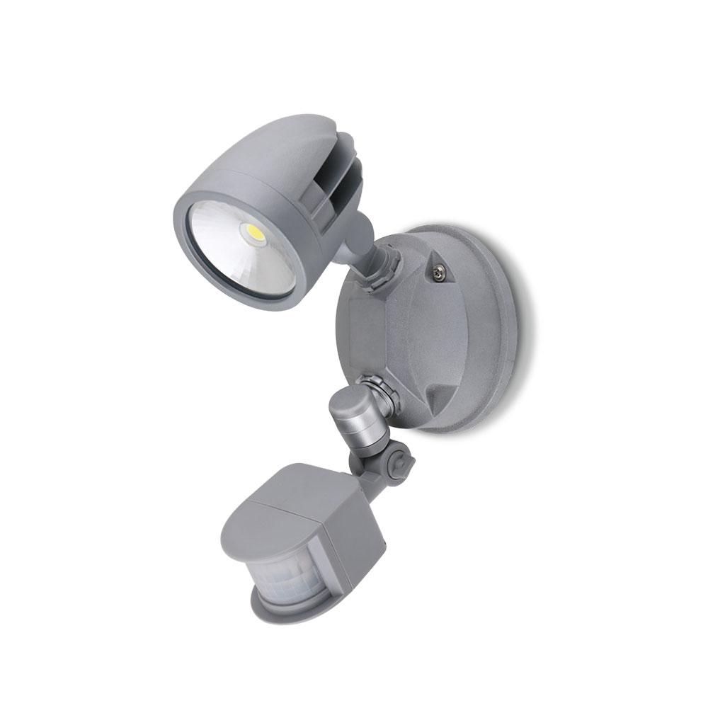 Single Head 12W LED Exterior Spotlight With Sensor Silver / Daylight -