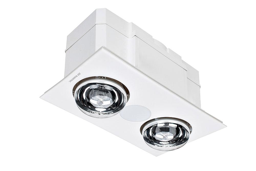 Forme 2 Light 3 In 1 Bathroom Heater, Heater And Light For Bathroom