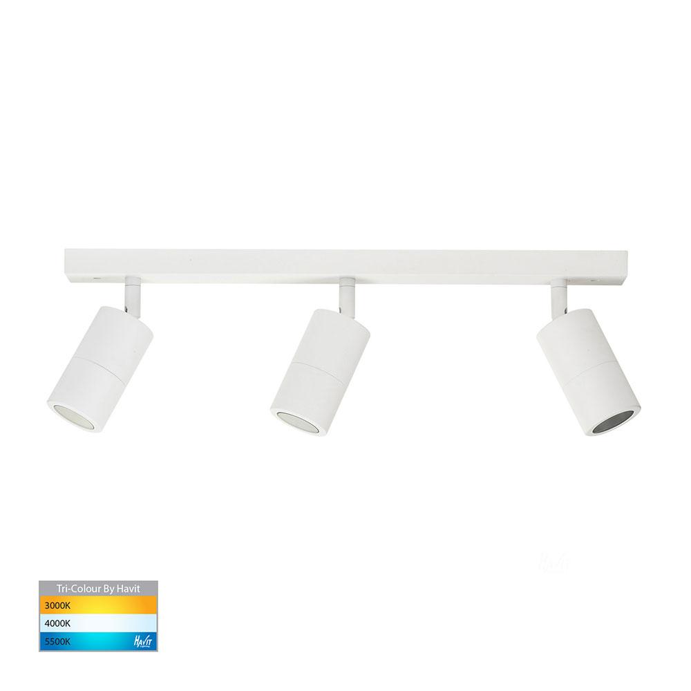 Tivah 15w 240v Led Ceiling Spotlight Bar Light Matt White Tri Colour