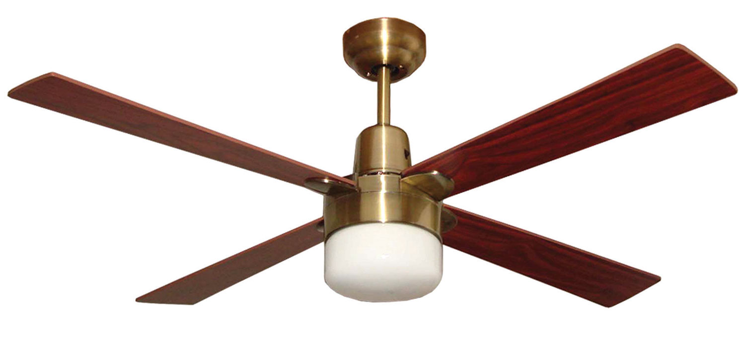 """Alpha 48"""" 1200mm Antique Brass Ceiling Fan With Clipper"""