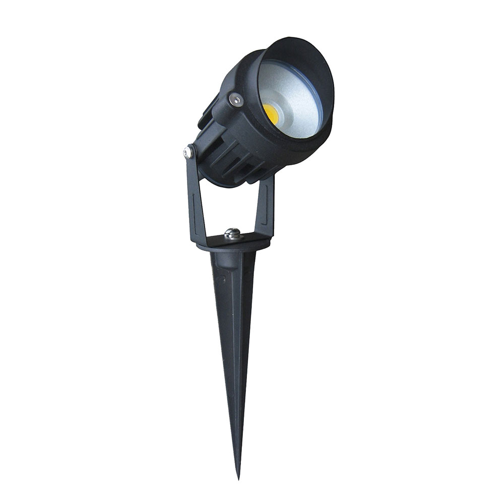 Black adjustable 12v 6w led spike light black finish for Eclairage led pour jardin
