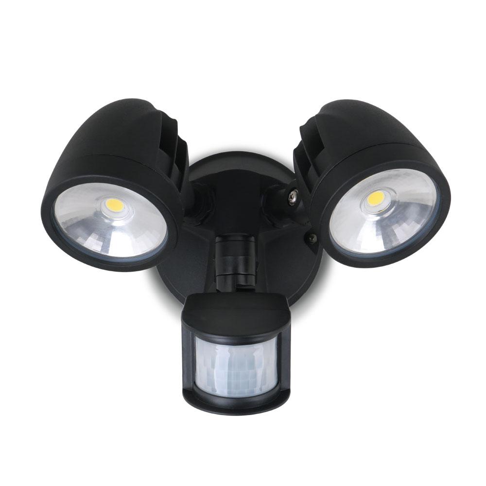 meet 83751 41afc Twin Head 24W LED Exterior Spotlight With Sensor Black / Daylight - AT