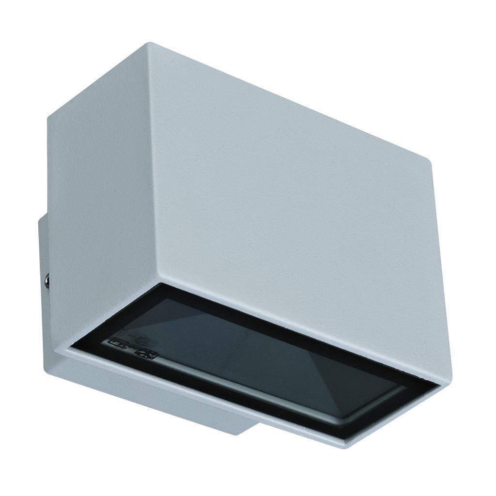 Johnson Led Wall Light: BLOCK-MINI Two Way LED Wall Light - Silver Finish