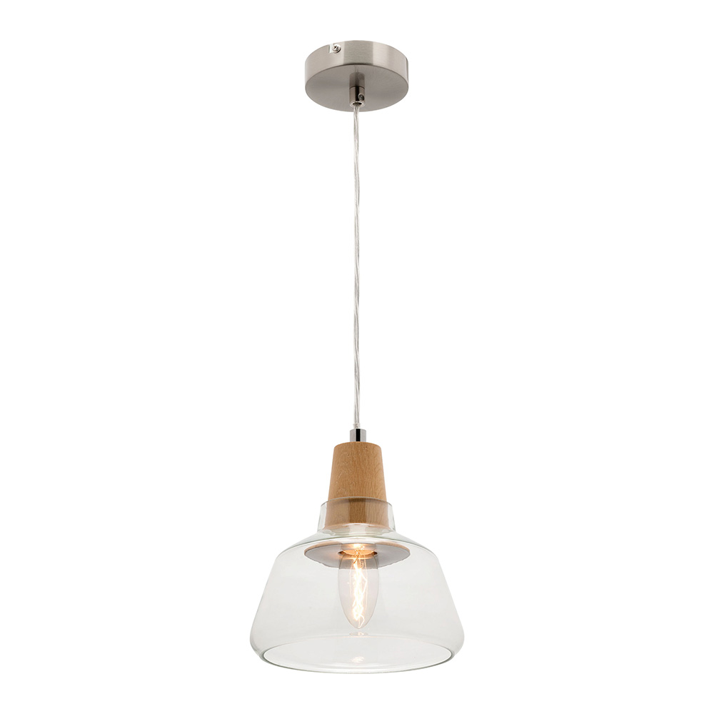 Laya Timber Small Pendant Light With Glass Shade