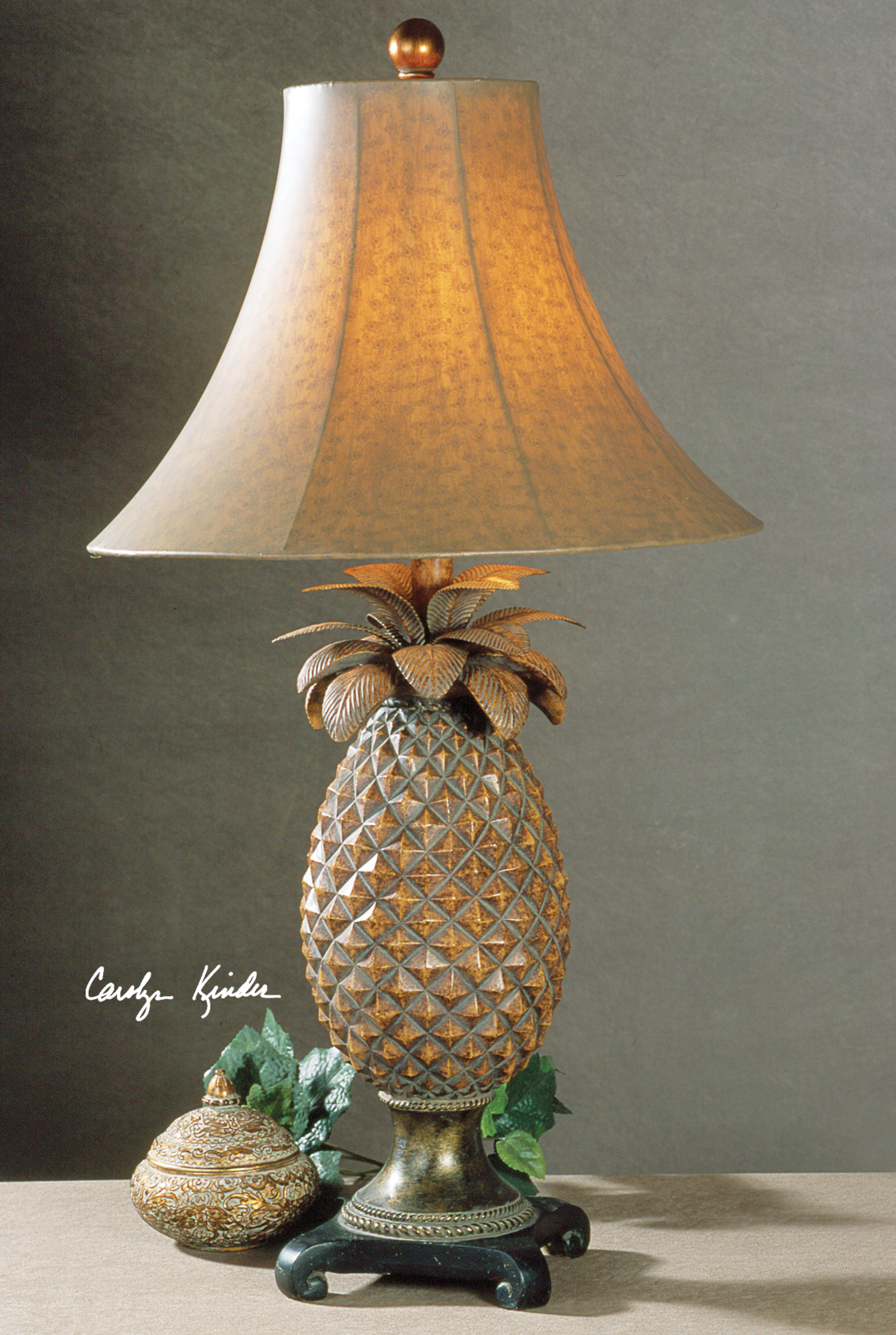 pineapple table linen resin shaped w gold finish distressed lamp product shade