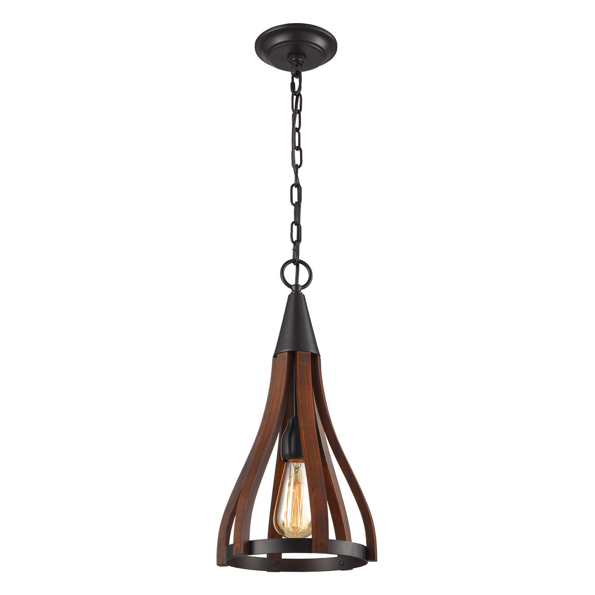 Modern Timber 1 Light Pendant Dark Red