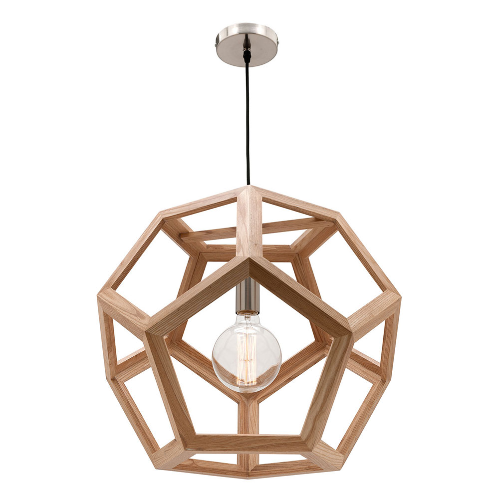 Peeta Large Pendant Light Natural Timber Hexagon