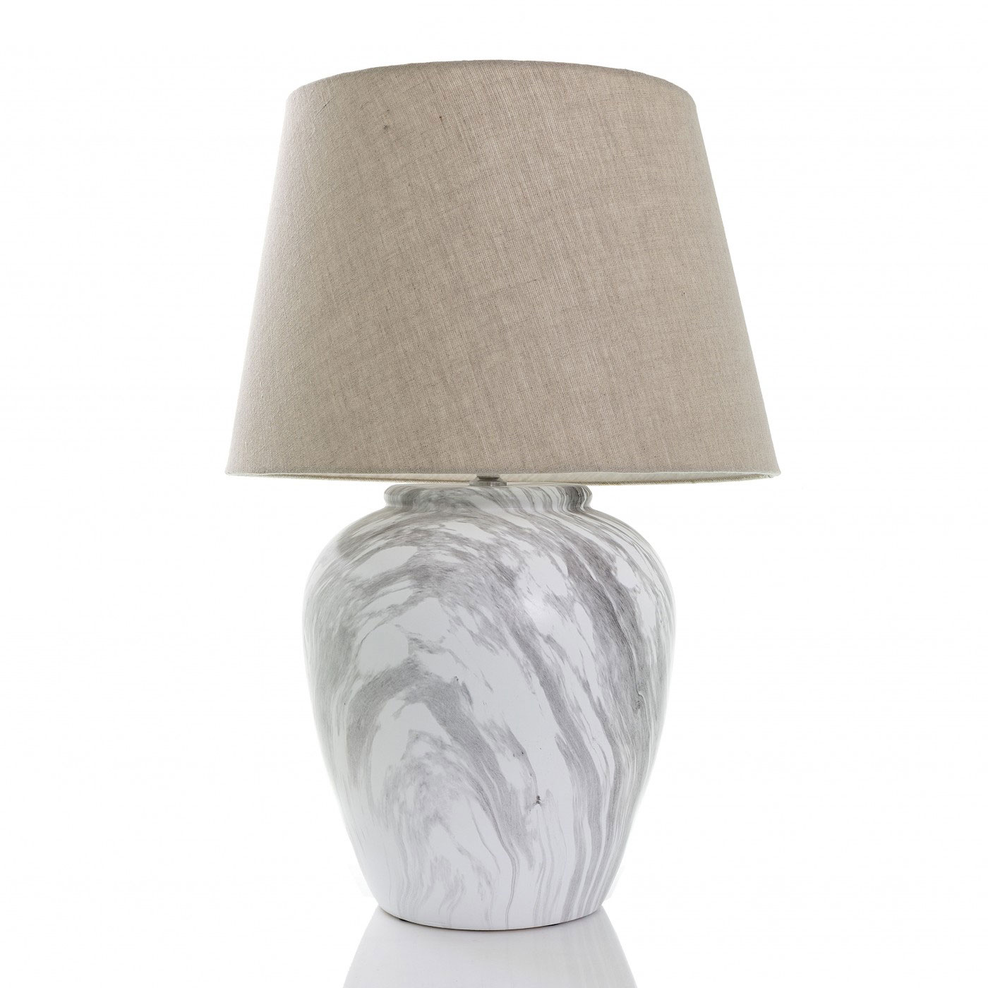 White Marble Lamp Base With Shade