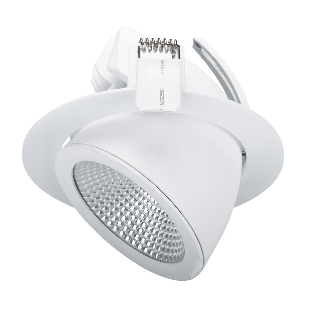 SCOOP 25 Round 25W Adjustable LED Downlight   Satin White Frame / White LED    Domus Lighting