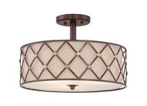 Brown Lattice Semi Flush Copper Canyon - QZ/BROWNLATT/SF