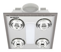 Cosmo Quattro 12W LED Bathroom 3-in-1 Exhaust Fan/Light/Heater Silver - BH014ESWSL