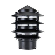 Three Tier Bollard Head Post Top Light Black - 10701
