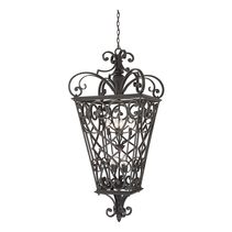 Fort Quinn 8 Light Chain Lantern - Marcado Black - QZ/FORTQUINN8