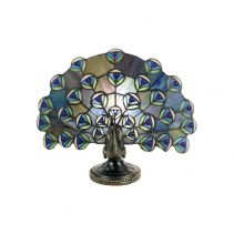 Tiffany Peacock Novelty Table Lamp Blue Turquoise - TL-QN2816