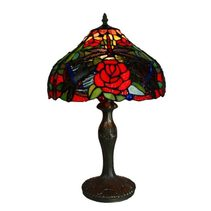 Roses & Dragonfly Tiffany Table Lamp - T-247-12