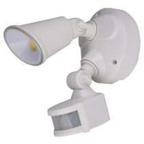 Defender 10W LED Single Exterior Security Light With PIR Sensor White / Tri-Colour - MLXD3451WS