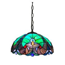 "Tiffany 16"" Stained Glass Victorian Design Pendant Light - JT16C42"