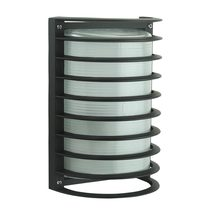 Cylindrical 240V E27 Grille Bunker Wall Light Black - 10786
