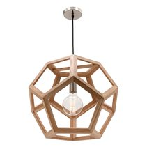Peeta Large Pendant Light Natural Timber Hexagon - MG4231L