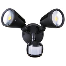 Fortress II 30W LED Double Exterior Security Light With PIR Sensor Matt Black / Tri-Colour - MLXF3452MS