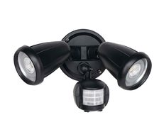 Titan 12 Watt Twin LED Spotlight with Sensor Black / Warm White - TITAN EX.2 S-BK