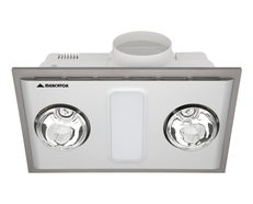 Cosmo Duo 12W LED Bathroom 3-in-1 Exhaust Fan/Light/Heater Silver - BH012ESWSL
